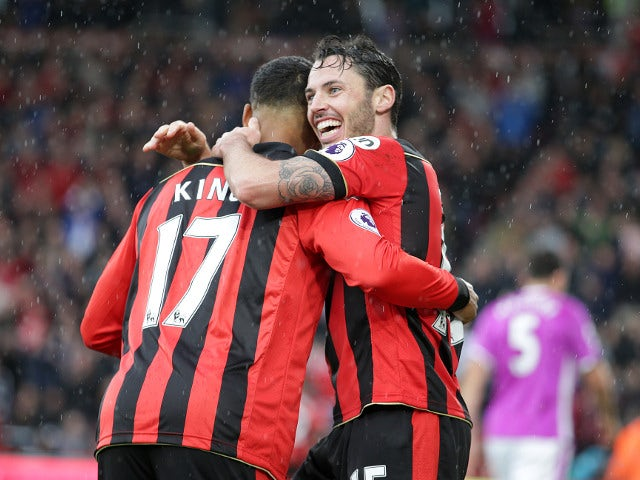 Bournemouth's Adam Smith and Joshua King celebrate a goal during their side's 6-1 victory over Hull City at the Vitality Stadium on October 15, 2016