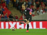 England goalkeeper Joe Hart passes the ball out during his side's World Cup qualifier against Malta at Wembley on October 8, 2016