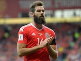 Joe Ledley in action during the World Cup qualifier between Wales and Georgia on October 9, 2016