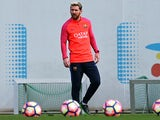 Lionel Messi at Barcelona training on October 14, 2016