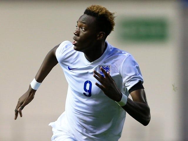 Tammy Abraham represents England Under-19s against Japan Under-19s on November 15, 2015