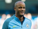 Manchester City captain Vincent Kompany warms up before his side's Premier League match against Everton at the Etihad Stadium on October 15, 2016