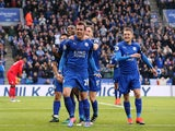 Leicester City defender Christian Fuchs celebrates scoring during his side's Premier League clash with Crystal Palace at the King Power Stadium on October 22, 2016