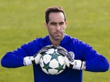 Manchester City goalkeeper Claudio Bravo training on October 18, 2016 ahead of their match with Barcelona