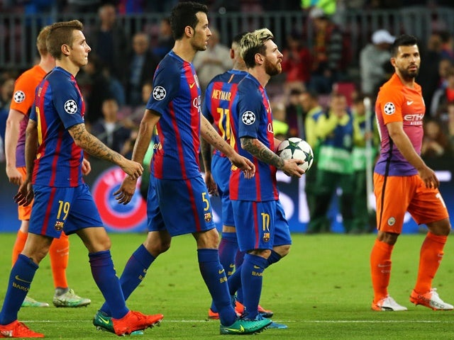 Lionel Messi at the Champions League game between Barcelona and Manchester City on October 19, 2016