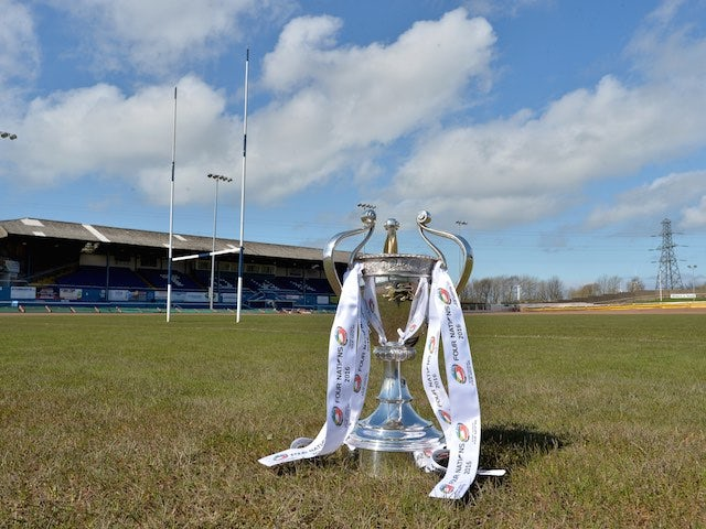 The Four Nations trophy at the Workington Town Zebra Claims Stadium on October 22, 2016