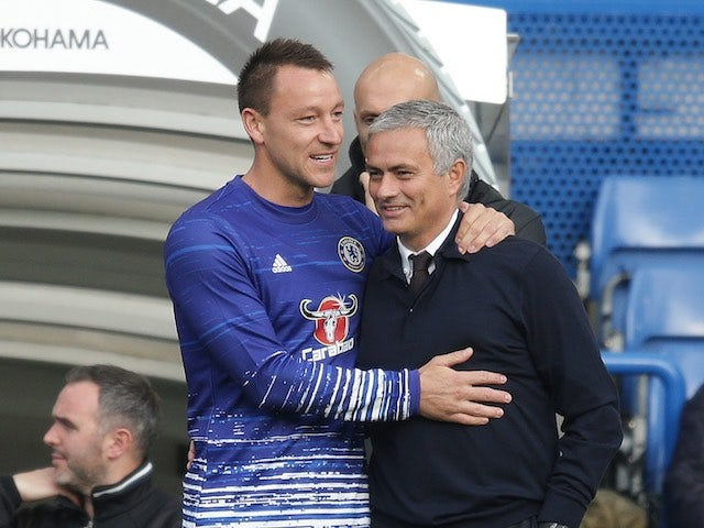 John Terry and Jose Mourinho are reunited during the Premier League game between Chelsea and Manchester United on October 23, 2016
