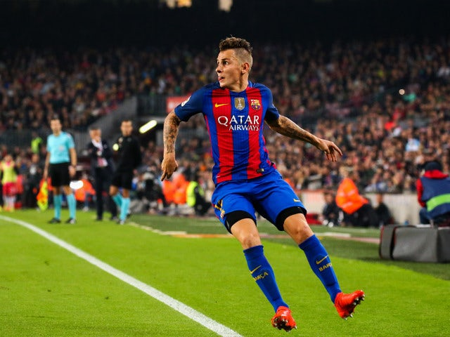 Lucas Digne in action for Barcelona during their La Liga clash with Granada at the Camp Nou on October 29, 2016