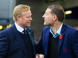 Everton manager Ronald Koeman greets West Ham United boss Slaven Bilic ahead of the Premier League clash between the two sides at Goodison Park on October 30, 2016