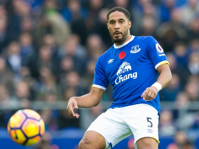 Everton defender Ashley Williams in action during his side's Premier League clash with West Ham United at Goodison Park on October 30, 2016