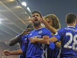 Diego Costa of Chelsea celebrates with teammates after scoring during his side's Premier League clash with Southampton at St Mary's on October 30, 2016