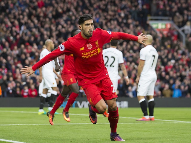 The delightful Emre Can celebrates scoring during the Premier League game between Liverpool and Watford on November 6, 2016