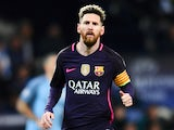 Lionel Messi of Barcelona in action during his side's Champions League clash with Manchester City at the Etihad Stadium on November 1, 2016