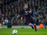Lionel Messi of Barcelona in action during the Champions League clash with Manchester City at the Etihad Stadium on November 1, 2016