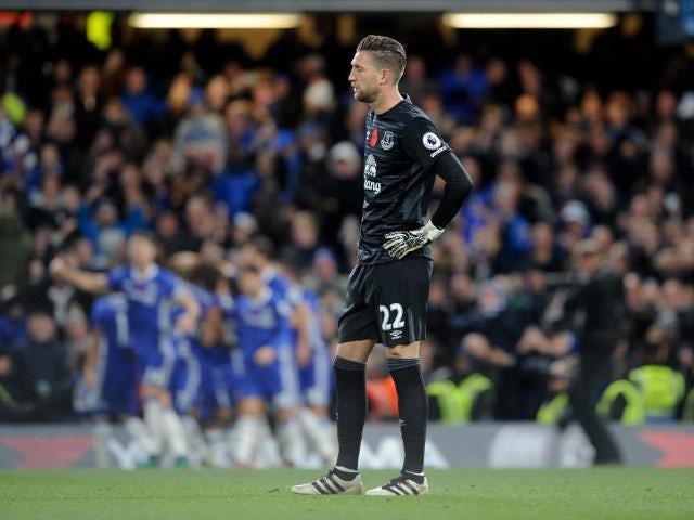 Everton goalkeeper Maarten Stekelenburg looks downbeat after conceding during his side's 5-0 defeat to Chelsea at Stamford Bridge on November 5, 2016