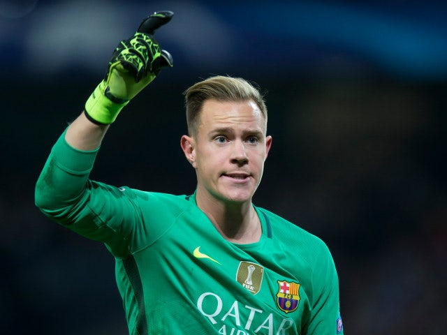 Barcelona goalkeeper Marc-Andre ter Stegen in action during his side's Champions League clash with Manchester City at the Etihad Stadium on November 1, 2016