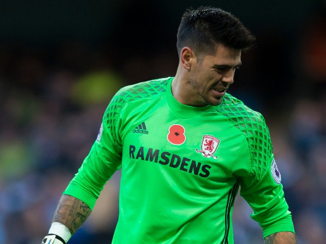 Middlesbrough goalkeeper Victor Valdes receives treatment after picking up a cut to his leg during the Premier League clash with Manchester City at the Etihad Stadium on November 5, 2016