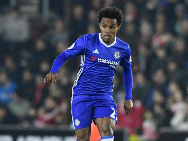 Willian of Chelsea in action during his side's Premier League clash with Southampton at St Mary's on October 30, 2016