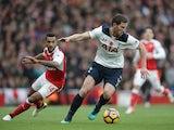 Tottenham Hotspur defender Jan Vertonghen evades Arsenal's Theo Walcott during the North London derby at the Emirates Stadium on November 6, 2016