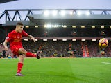 Liverpool midfielder Philippe Coutinho crosses the ball during his side's Premier League clash with Watford at Anfield on November 6, 2016