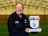 Rafael Benitez poses with his manager of the month award for November 2016 - EMBARGOES UNTIL NOVEMBER 11