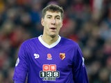 Watford goalkeeper Costel Pantilimon in action during his side's Premier League clash with Liverpool at Anfield on November 6, 2016