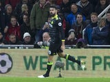 Diego Costa celebrates scoring during the Premier League game between Middlesbrough and Chelsea on November 20, 2016
