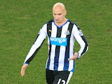Jonjo Shelvey for Newcastle United during the Premier League match with Everton at Goodison Park on February 3, 2016