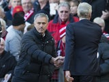 Jose Mourinho and Arsene Wenger shake hands before the Premier League game between Manchester United and Arsenal on November 19, 2016