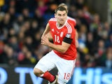 Wales striker Sam Vokes in action during his side's World Cup qualifier with Serbia on November 12, 2016