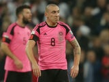 Scotland midfielder Scott Brown in action upon his return to international duty during the World Cup qualifier against England at Wembley on November 11, 2016