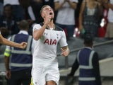Tottenham Hotspur defender Toby Alderweireld celebrates after scoring during the Champions League clash with AS Monaco at Wembley Stadium on September 14, 2016