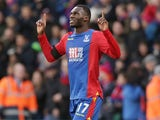 Christian Benteke celebrates during the Premier League game between Crystal Palace and Southampton on December 3, 2016