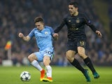 Pablo Maffeo and Tomas Rogic in action during the Champions League game between Manchester City and Celtic on December 6, 2016
