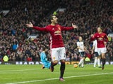 Henrikh Mkhitaryan celebrates scoring during the Premier League game between Manchester United and Tottenham Hotspur on December 11, 2016