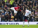 Paul Pogba and Victor Wanyama in action during the Premier League game between Manchester United and Tottenham Hotspur on December 11, 2016