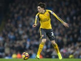 Hector Bellerin in action during the Premier League game between Manchester City and Arsenal on December 18, 2016