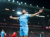 Stoke City forward Jonathan Walters celebrates scoring the opening goal during his side's Premier League clash with Liverpool at Anfield on December 27, 2016