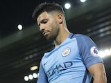 Sergio Aguero in action during the Premier League game between Liverpool and Manchester City on December 31, 2016