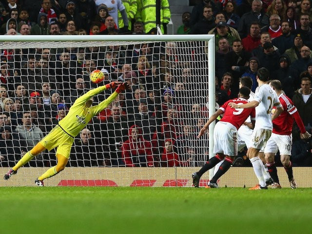 Anthony Martial scores the opener during the game between Manchester United and Swansea on January 2, 2016