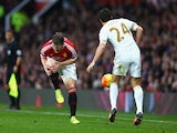 Bastian Schweinsteiger is fouled during the game between Manchester United and Swansea on January 2, 2016