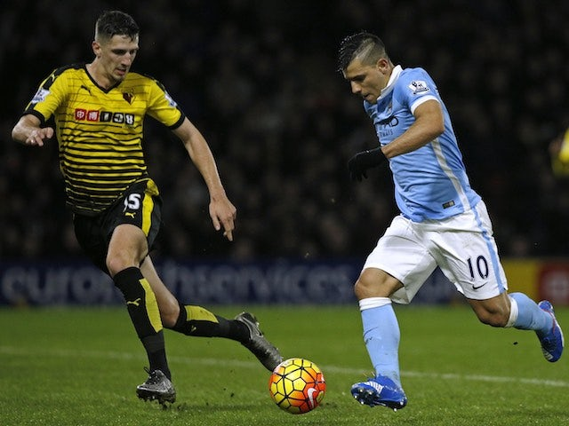 Craig Cathcart and Sergio Aguero in action during the game between Watford and Man City on January 2, 2016