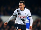 Dele Alli celebrates scoring during the game between Everton and Tottenham Hotspur on January 3, 2016
