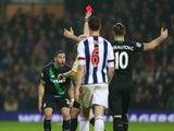 Geoff Cameron sees red during the game between West Brom and Stoke on January 2, 2016