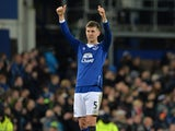 John Stones sticks his thumbs up during the game between Everton and Tottenham Hotspur on January 3, 2016