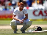 Jonny Bairstow squats on day two of the second Test between South Africa and England on January 3, 2016