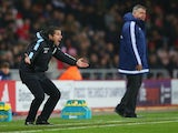 Remi Garde screams during the game between Sunderland and Aston Villa on January 2, 2016