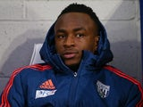 Saido Berahino sits on the bench prior to the game between West Brom and Stoke on January 2, 2016