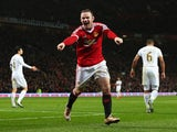 Wayne Rooney celebrates scoring during the game between Manchester United and Swansea on January 2, 2016)