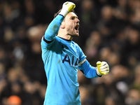 Hugo Lloris celebrates during the Premier League game between Tottenham Hotspur and Chelsea on January 4, 2017